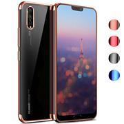 TPU Hülle für Huawei P20 Case Silikon Cover Transparent mit Farbrand Handyhülle