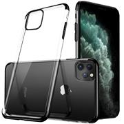 TPU Hülle für Apple iPhone 11 Pro Max Case Silikon Cover Transparent mit Farbrand Handyhülle