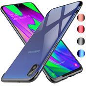 TPU Hülle für Samsung Galaxy A10 Case Silikon Cover Transparent mit Farbrand Handyhülle