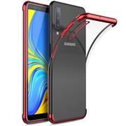 TPU Hülle für Samsung Galaxy A7 2018 Case Silikon Cover Transparent mit Farbrand Handyhülle