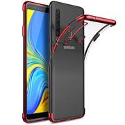 TPU Hülle für Samsung Galaxy A9 2018 Case Silikon Cover Transparent mit Farbrand Handyhülle