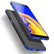 TPU Hülle für Samsung Galaxy J4 Plus Case Silikon Cover Transparent mit Farbrand Handyhülle