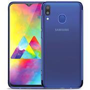 TPU Hülle für Samsung Galaxy M20 Case Silikon Cover Transparent mit Farbrand Handyhülle
