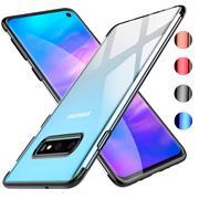 TPU Hülle für Samsung Galaxy S10 Plus Case Silikon Cover Transparent mit Farbrand Handyhülle