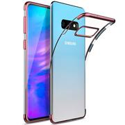 TPU Hülle für Samsung Galaxy S10 Case Silikon Cover Transparent mit Farbrand Handyhülle