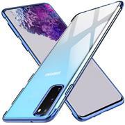 TPU Hülle für Samsung Galaxy S20 Case Silikon Cover Transparent mit Farbrand Handyhülle