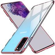 TPU Hülle für Samsung Galaxy S20 Plus Case Silikon Cover Transparent mit Farbrand Handyhülle
