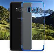 TPU Hülle für Samsung Galaxy S8 Plus Case Silikon Cover Transparent mit Farbrand Handyhülle