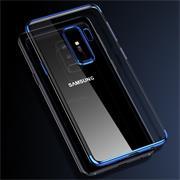 TPU Hülle für Samsung Galaxy S9 Plus Case Silikon Cover Transparent mit Farbrand Handyhülle