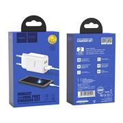 Hoco C62A USB Ladegerät + USB Typ-C Ladekabel Netzteil Dual Port mit 2.1A