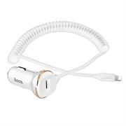Hoco KFZ Ladegerät Z14 mit 3.4A - Spiral Lightning Kabel Stecker mit USB