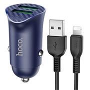 Hoco Z39 QC 3.0 Power KFZ Ladegerät | Schnell Ladegerät 2x USB + Lightning Ladekabel