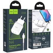 Hoco N4 USB Ladegerät + Micro USB Kabel Netzteil Dual Port mit 2.4A Reise Ladestecker