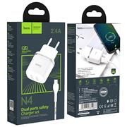 Hoco N4 USB Ladegerät + USB Typ C Kabel Netzteil Dual Port mit 2.4A Reise Ladestecker