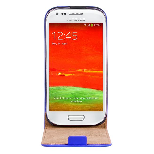 Basic Flip Case für Samsung Galaxy S3 Mini Klapptasche Cover Hülle in Blau