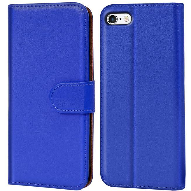 Basic Bookcase Hülle für Apple iPhone 4 / 4S Klapphülle Tasche mit Kartenfächer in Blau