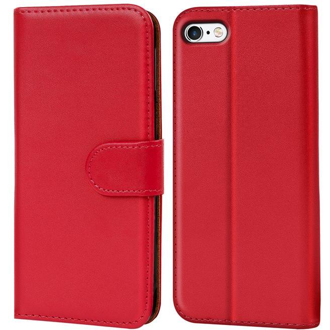 Basic Bookcase Hülle für Apple iPhone 4 / 4S Klapphülle Tasche mit Kartenfächer in Rot