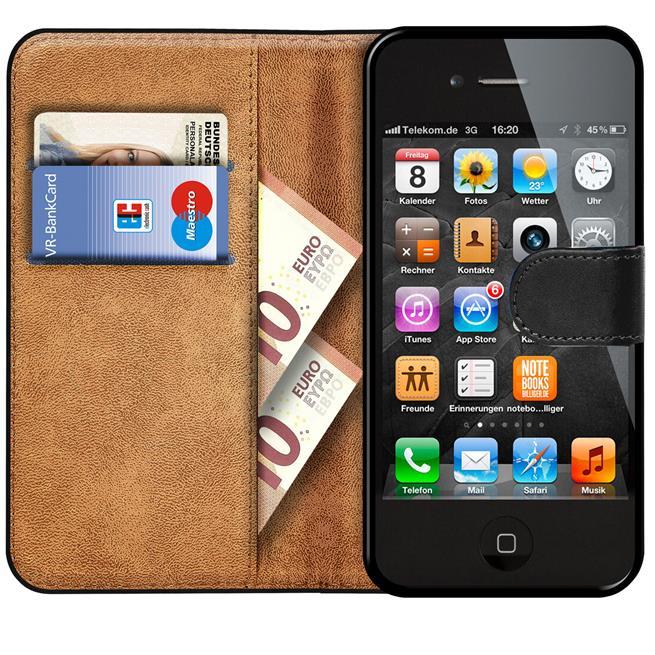 Basic Handyhülle für Apple iPhone 4 / 4s Hülle Book Case klappbare Schutzhülle