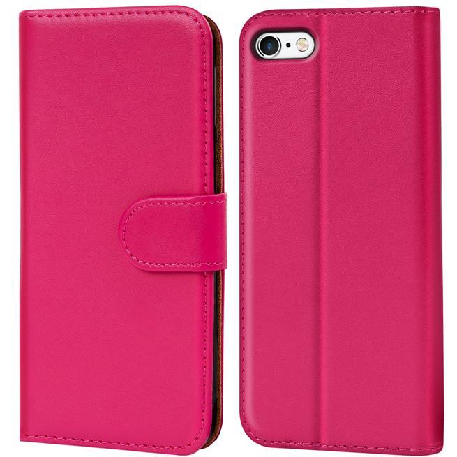 Basic Bookcase Hülle für Apple iPhone 5 / 5S / SE Klapphülle Tasche mit Kartenfächer in Pink