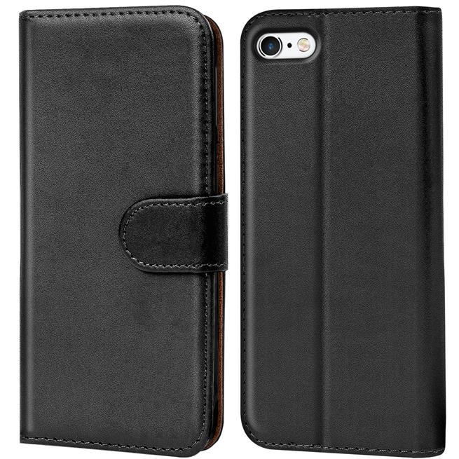 Basic Bookcase Hülle für Apple iPhone 5 / 5S / SE Klapphülle Tasche mit Kartenfächer in Schwarz