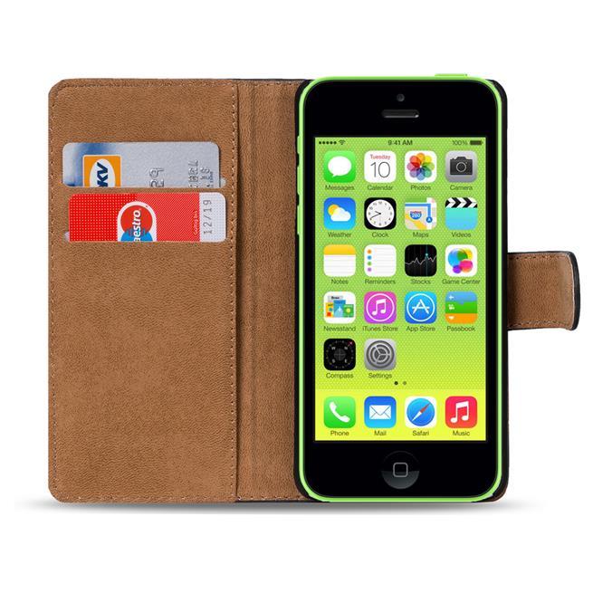 Basic Bookcase Hülle für Apple iPhone 5C Klapphülle Tasche mit Kartenfächer in Grün