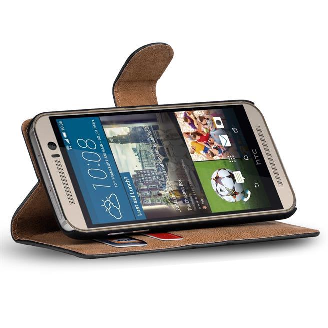 Basic Bookcase Hülle für HTC One M8 Schutzhülle mit Standfunktion