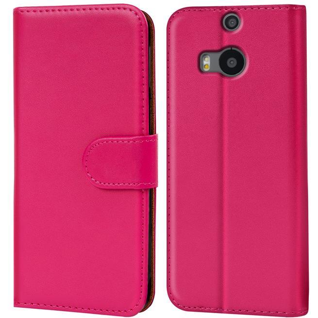 Basic Bookcase Hülle für HTC One M8 Klapphülle Tasche mit Kartenfächer in Pink