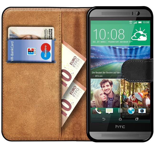 Basic Handyhülle für HTC One M8 Hülle Book Case klappbare Schutzhülle