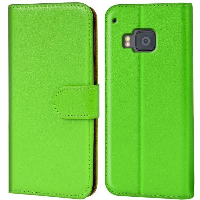 Basic Bookcase Hülle für HTC One M9 Klapphülle Tasche mit Kartenfächer in Grün