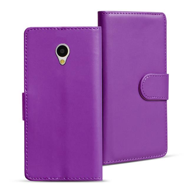 Basic Bookcase Hülle für HTC One Mini Klapphülle Tasche mit Kartenfächer in Lila