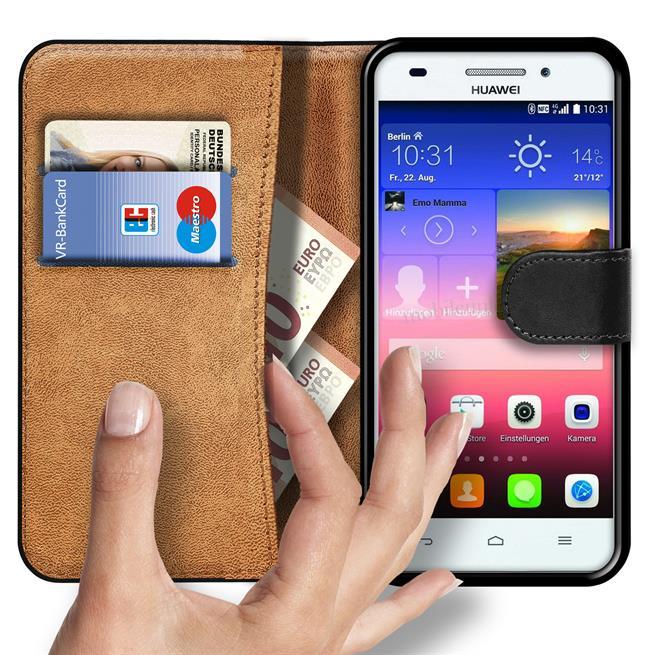 Basic Bookcase Hülle für Huawei Ascend G620s Tasche mit Kartenfächern