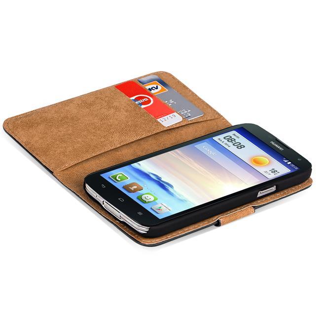 Basic Bookcase Hülle für Huawei Ascend G730 Klapphülle Tasche mit Kartenfächer in Schwarz