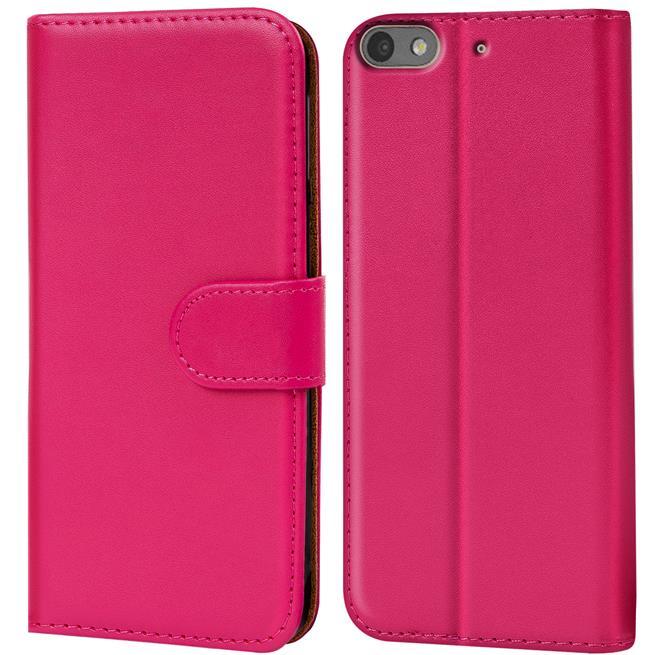 Basic Bookcase Hülle für Huawei G Play Mini Klapphülle Tasche mit Kartenfächer in Pink