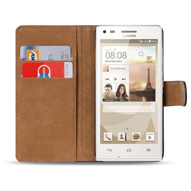 Basic Bookcase Hülle für Huawei Ascend P7 Klapphülle Tasche mit Kartenfächer in Schwarz