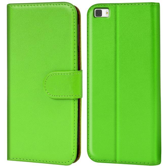 Basic Bookcase Hülle für Huawei P8 Lite Klapphülle Tasche mit Kartenfächer in Grün