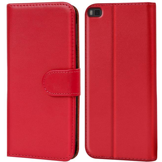 Basic Bookcase Hülle für Huawei P8 Klapphülle Tasche mit Kartenfächer in Rot