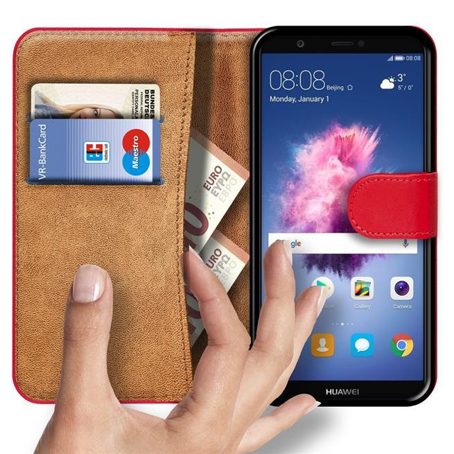 Basic Bookcase Hülle für Huawei P Smart Klapphülle Tasche mit Kartenfächern in Rot