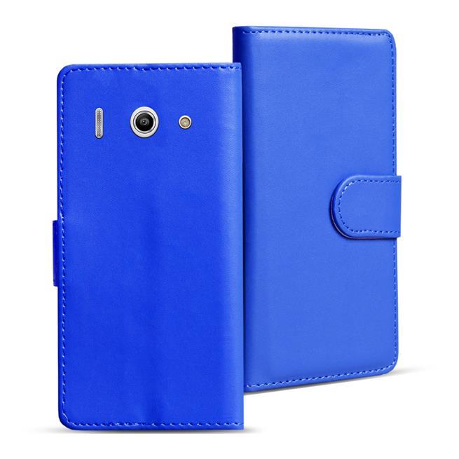 Basic Bookcase Hülle für Huawei Ascend Y300 Klapphülle Tasche mit Kartenfächer in Blau