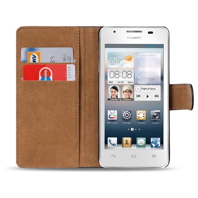 Basic Bookcase Hülle für Huawei Ascend Y300 Klapphülle Tasche mit Kartenfächer in Grün
