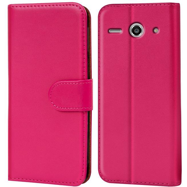 Basic Bookcase Hülle für Huawei Ascend Y530 Klapphülle Tasche mit Kartenfächer in Pink