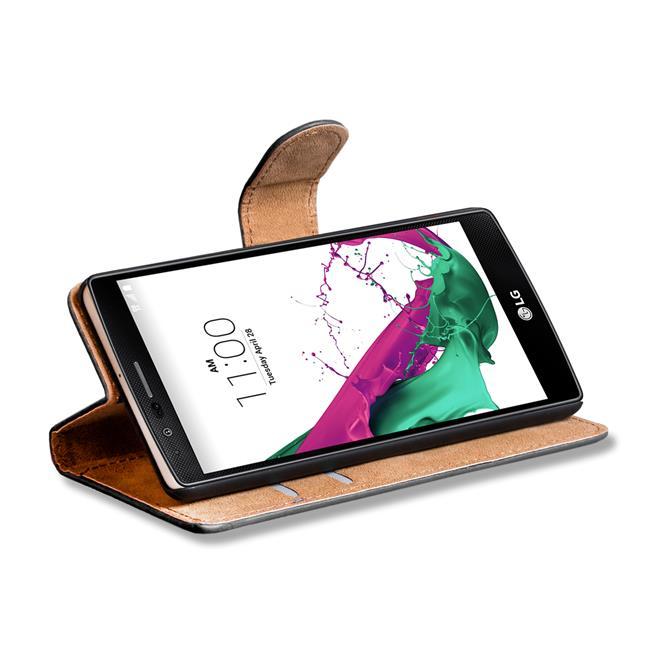 Basic Bookcase Hülle für LG G4c Klapphülle Tasche mit Kartenfächer in Grün