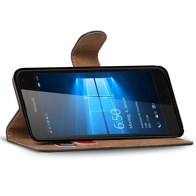 Basic Bookcase Hülle für Microsoft Lumia 650 Tasche mit Kartenfächern