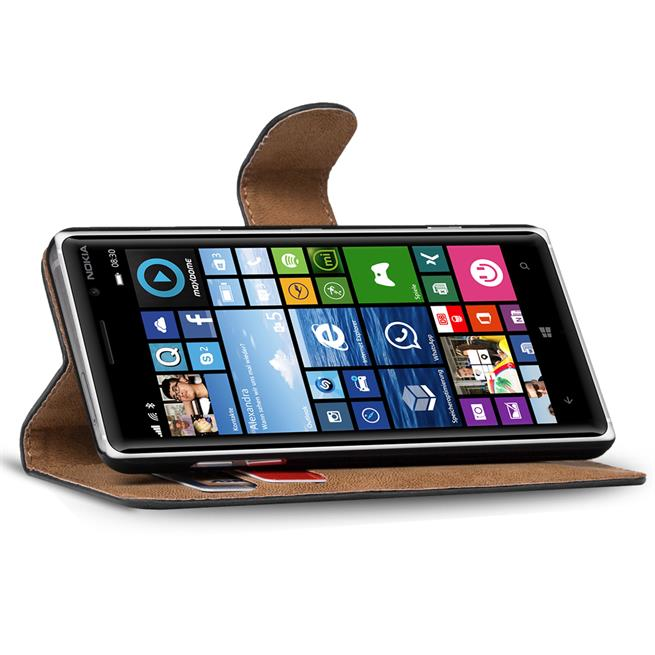 Basic Bookcase Hülle für Nokia Lumia 830 Schutzhülle mit Kartenfächern