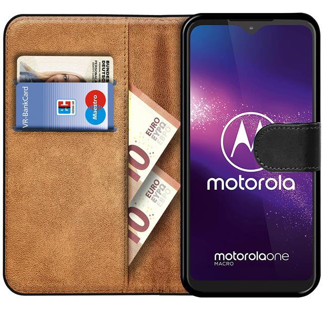 Basic Bookcase Hülle für Motorola One Macro Case klappbare Schutzhülle