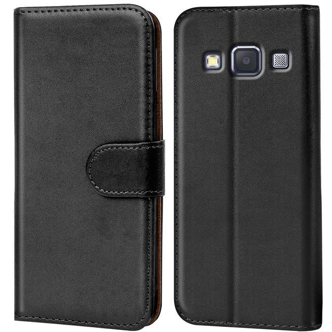 Basic Bookcase Hülle für Samsung Galaxy A3 Klapphülle Tasche mit Kartenfächer in Schwarz