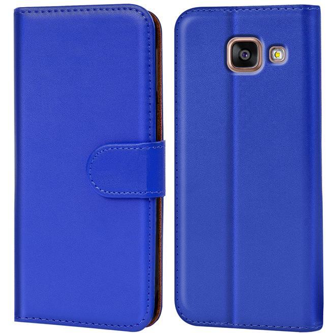 Basic Bookcase Hülle für Samsung Galaxy A5 2016 Edition Klapphülle Tasche mit Kartenfächer in Blau