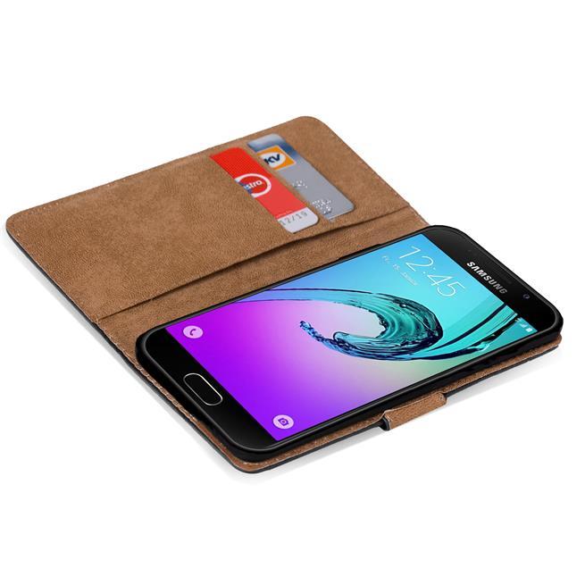 Basic Bookcase Hülle für Samsung Galaxy A5 2016 Edition Klapphülle Tasche mit Kartenfächer in Grün
