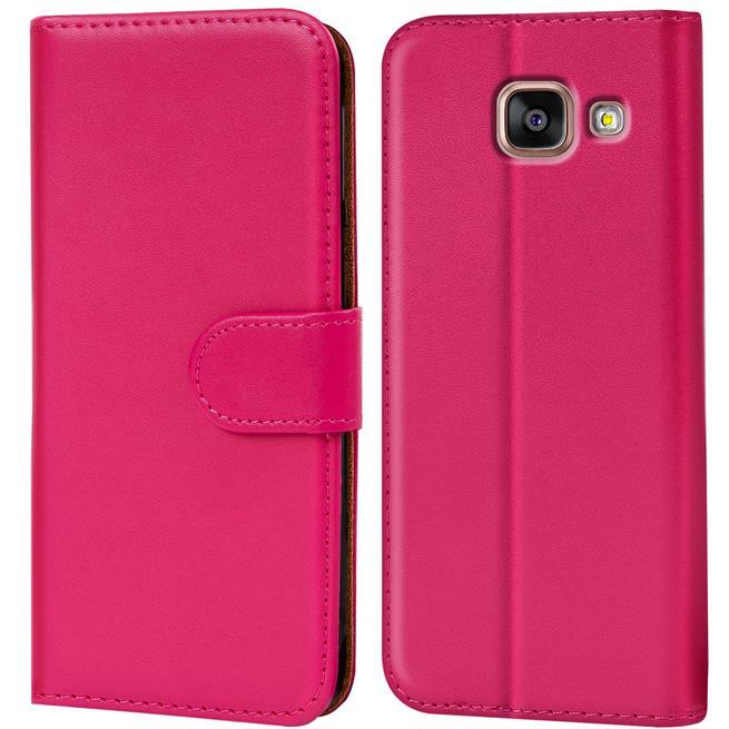 Basic Bookcase Hülle für Samsung Galaxy A5 2016 Edition Klapphülle Tasche mit Kartenfächer in Pink