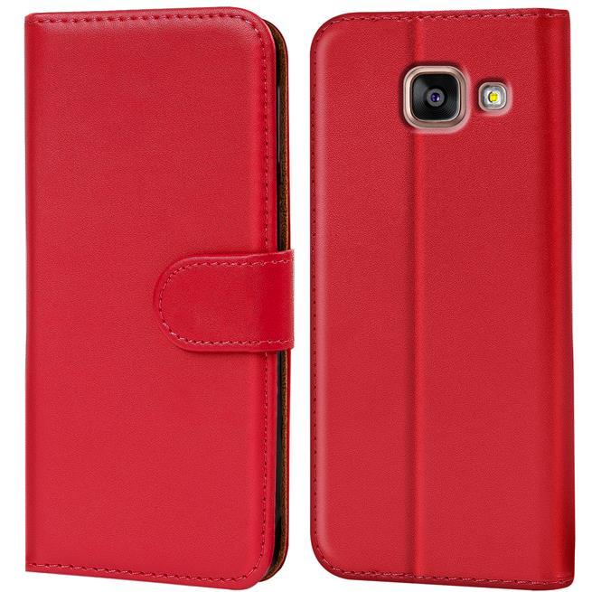 Basic Bookcase Hülle für Samsung Galaxy A5 2016 Edition Klapphülle Tasche mit Kartenfächer in Rot
