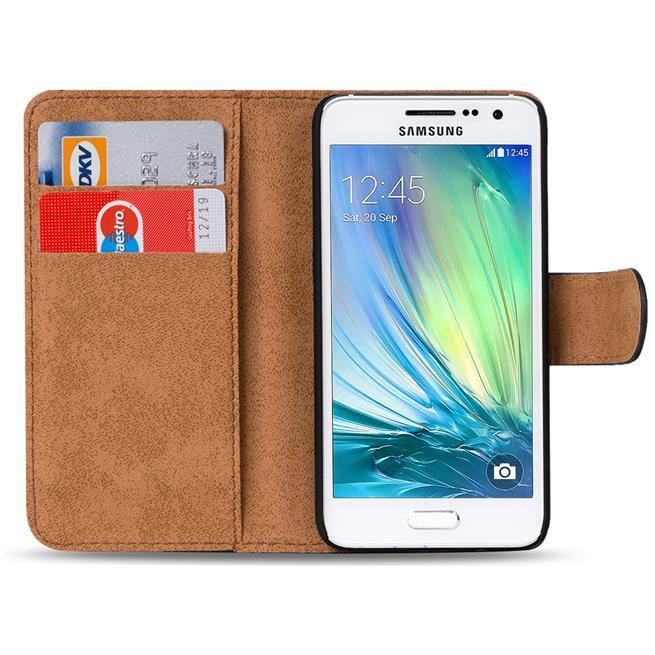 Basic Bookcase Hülle für Samsung Galaxy A7 Klapphülle Tasche mit Kartenfächer in Blau